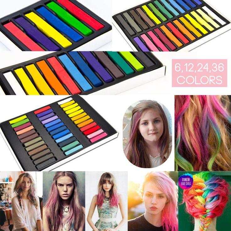 Craie de cheveux Teinture MultiCouleur des cheveux Pastels tendres Salon 6-36pcs