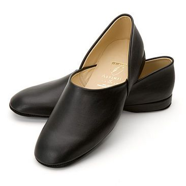 Men's Leather Slipper in Smooth Black - Aspinal of London. possible leather slipper to remake into period shoe - 1560s-70s.