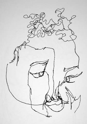 Blind contour drawing, portrait. (remember how much fun this was)?