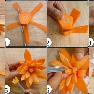Carrot flower - I think only a pro can pull this off. I'll pin it anyway!