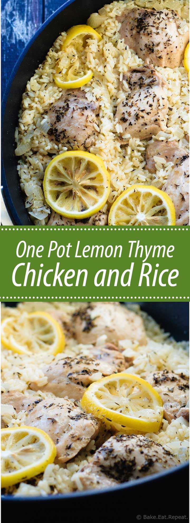 One Pot Lemon Thyme Chicken and Rice - One pot lemon thyme chicken and rice is ready in 30 minutes and filled with flavour. An easy and healthy weeknight meal the whole family will love!                                                                                                                                                     More