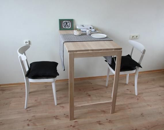 Wall Mounted High Rectangular Wood Table In Solid Oak Wall Folding