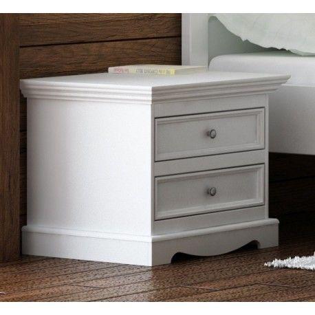Noční stolek Belluno Ellegante, bílý, masiv, borovice