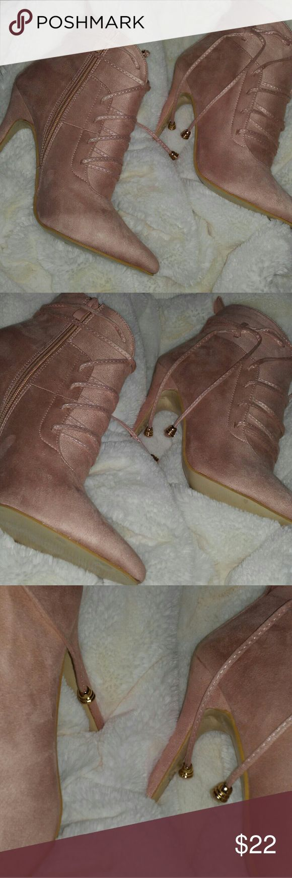 """💕✨NEW NUDE PINK HEEL SUADE LIKE  BOOTIES ✨ Nude pink booties with 3"""" heel with zip up and lace with gold detailing for tightness ,saude like material BRAND NEW never wore !!! Size 39 /8! No tag as i bought online but never wore out !!😇 Shoes"""