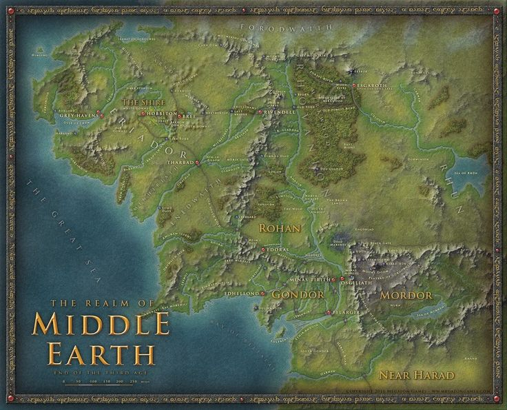 Photo: A map of Middle-Earth. Done in Photoshop. If you want a high-resolution version there is one at the cartographers Guild. Hope you like it.  This is most probably the style we will use in the upcoming StormRing fantasy setting (for the QuestCore RPG)