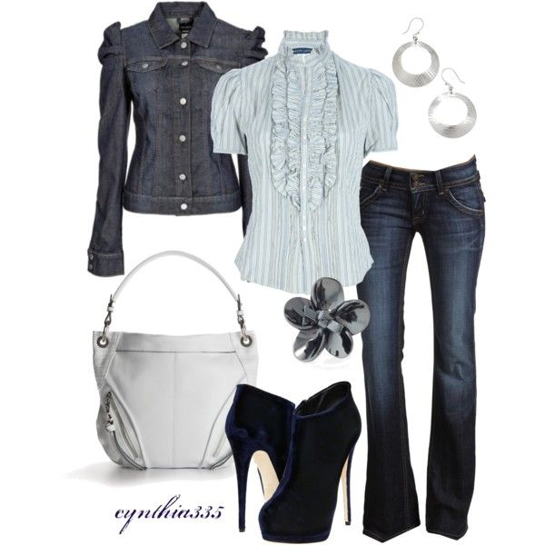 Blue on Blue, created by cynthia335 on Polyvore: Baby Blue, Blouses, Jeans Jackets, Blue Jeans, Denim Jackets, Work Outfit, Blue Heels, Boots, Ruffles