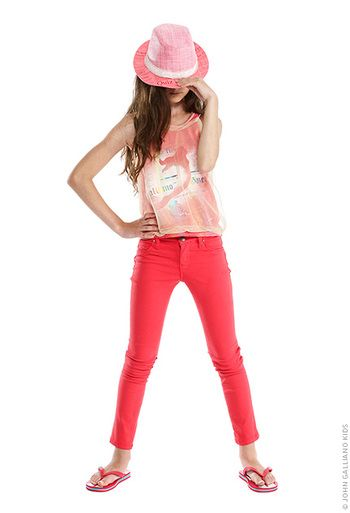 John Galliano Kids' candy pink printed tank top made of stretch jersey -  Tween Clothing