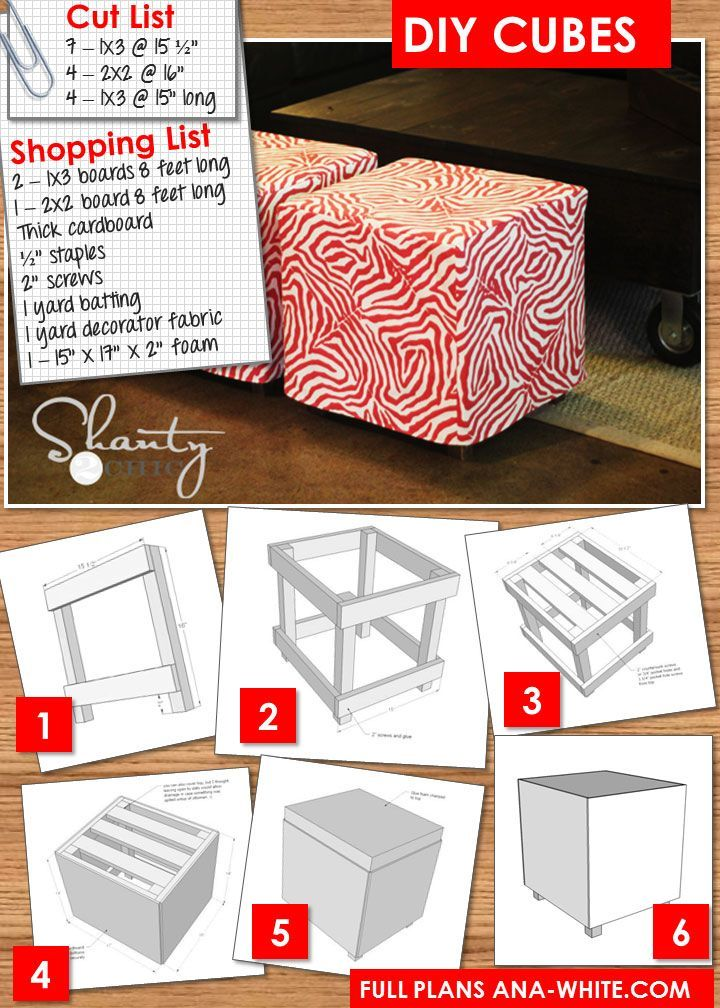 DIY Ottoman Projects- Tutorials and instructions including this one from Ana White by Shanty 2 Chic!