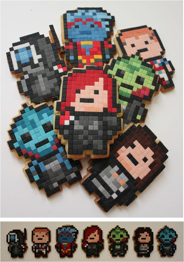 Mass Effect Pixel Biscuits by ~BeanieBat on deviantART. Video Game  PartyVideo GamesCupcake CookiesCupcakesDecorated ...