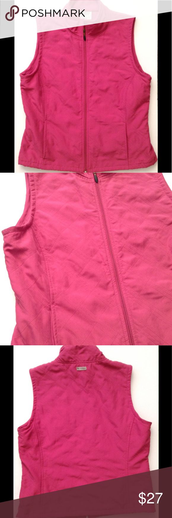 🆕 Women's COLUMBIA SPORTSWEAR PINK VEST Zip-Up PS Magenta/Fuchsia color: COLUMBIA SPORTSWEAR COMPANY VEST kris-cross Diamond pattern/stitching, 100% Polyester she'll; Machine Wash Cold. Size petite Small. In excellent used condition. Columbia Jackets & Coats Vests