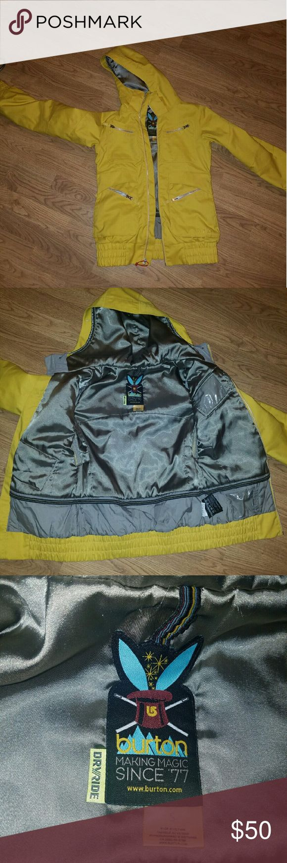 Burton dryride snowboard jacket Super cute yellow dryride snowboard jacket from burton. Size juniors  small. Pit vents, Inside pockets : goggle pocket, media pocket, pass pocket, ID pocket.  Outside pockets: small chest pockets and side pockets that both zip, and lined handwarmer pockets. The zipper pulley needs to be replaced (see photo #4). Great condition otherwise and yhays an easy fix. Also sadly it's missing the waist gaiter.  All reasonable offers will be considered. Burton Jackets…
