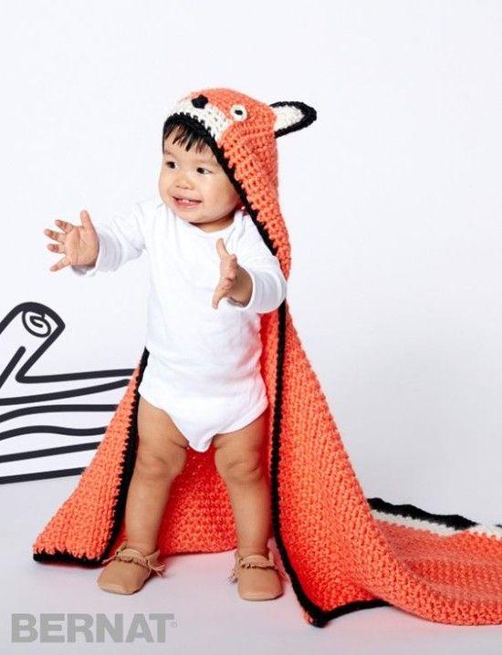 Hooded Fox Baby Blanket Free Crochet Pattern