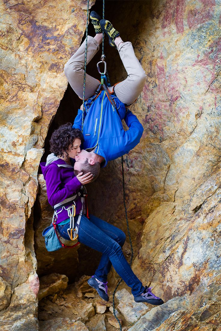 rock climbing engagement photo. the only acceptable form of pda