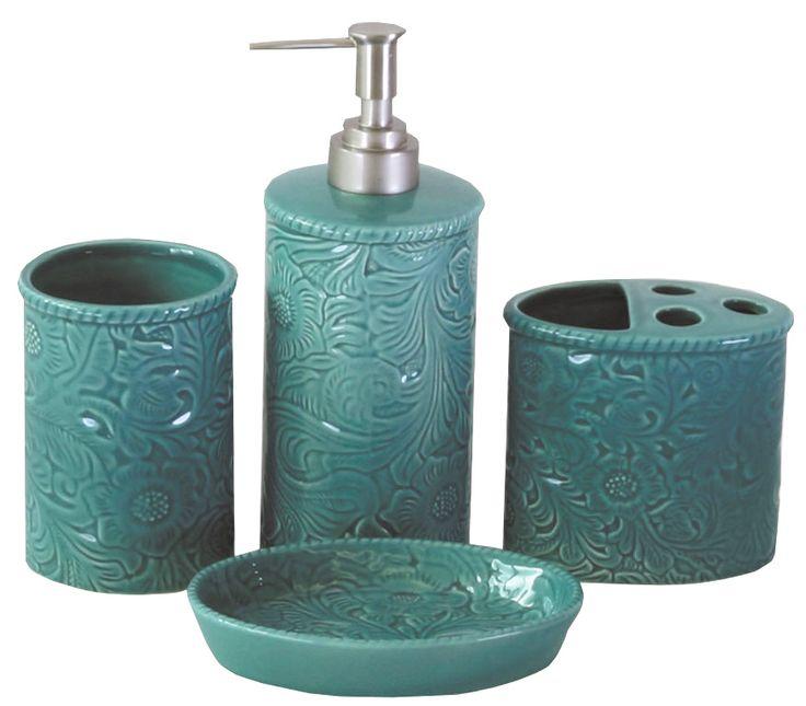 Turquoise 4PC Savannah Bathroom Set