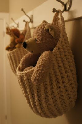 Cute idea for kids rooms. Hanging Storage Pouch - Crochet Pattern. $3.99,