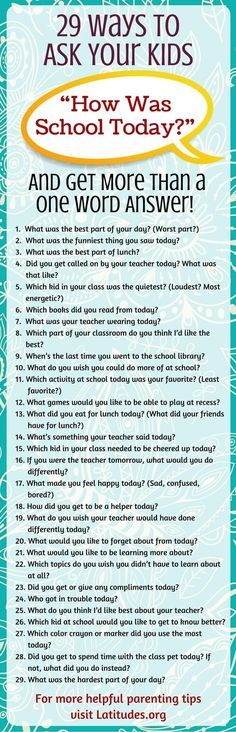This list is great for all parents. Try asking your kids these questions the next time they come home from school!