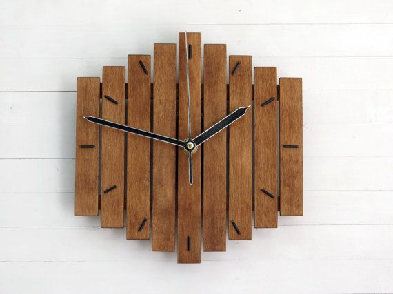wooden clock wall clock wood wall clock modern wall clock steampunk clock rustic clock industrial wall clock geometric decor romb i