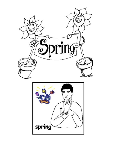sign  spring  with coloring page