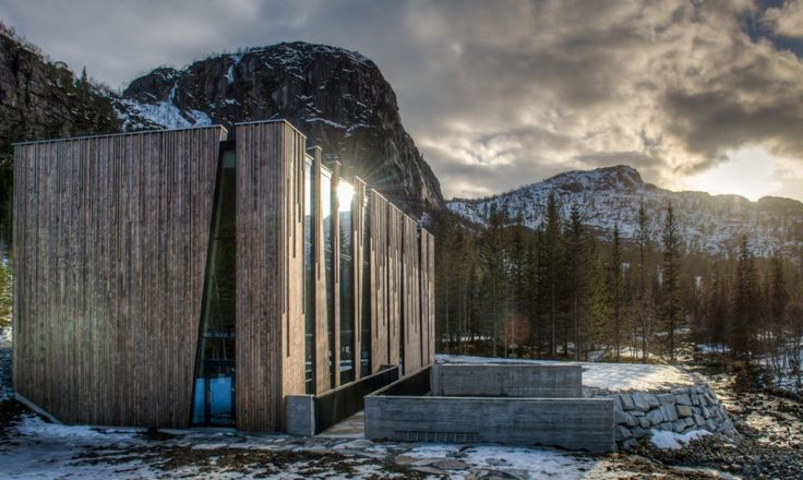 """""""The plant has been designed to reflect the characteristics of the landscape, which is located on the river bed in a clearing at the edge of a spruce forest,"""" said the architects in a statement."""