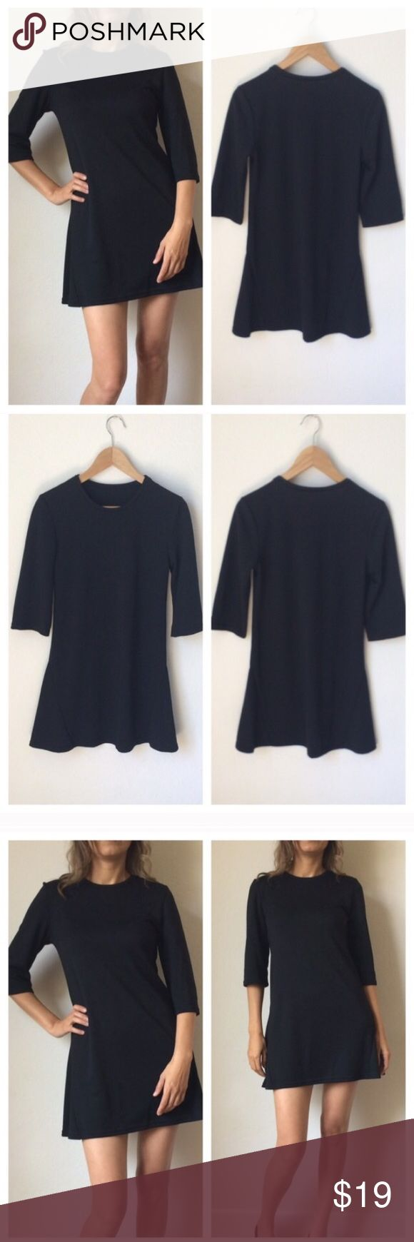 """Black Weekend Dress Tunic New with tags Mini Black Dress 💙. Polyester. Ideal for weekends, super comfortable, tunic style, 3:4"""" sleeve. 💙💙BUNDLE and save 💙💙 Dresses Mini"""