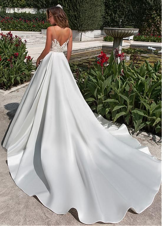 Purchase low cost Fantastic Tulle & Satin Bateau Neckline A-line Wedding ceremony Costume With B…
