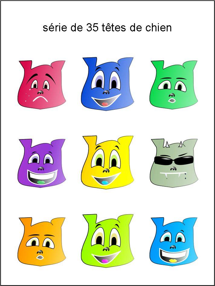 émoticônes, smileys, cliparts, visage chien, jaune, vert, rouge, bleu, rose, violet, orange, gris, heureux, rire, sourire, content, en pleurs, triste, étonné, surpris, avec lunettes, téléchargement, gratuit, séries, collections