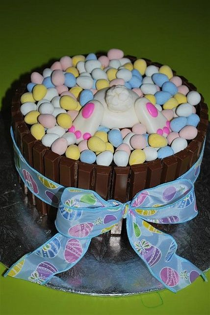 Easter Egg Basket Cake ~ topped with mini eggs and Kit Kat basket. Bunny bum is fondant… photo only, cute idea!