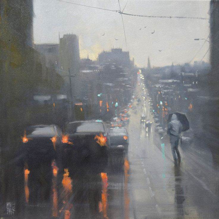 Australian painter Mike Barrfocuses his work almost exclusively on rainy cityscapes, the moments of hazy gray that become illuminated by a city's cars and traffic lights. There is a unity fo…