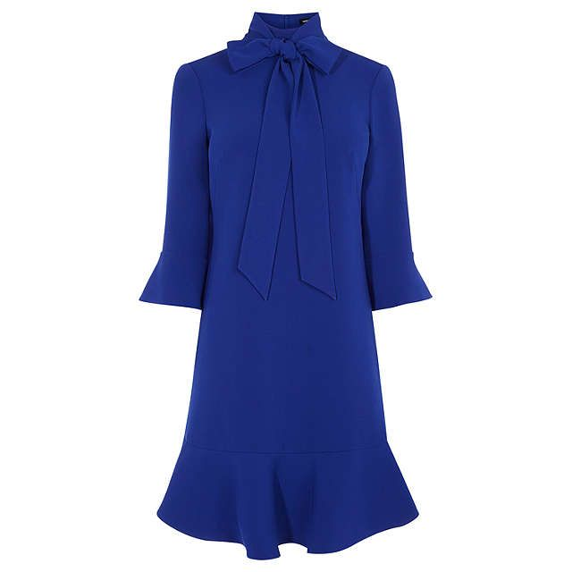 BuyKaren Millen Pussy Bow Dress, Blue, 6 Online at johnlewis.com