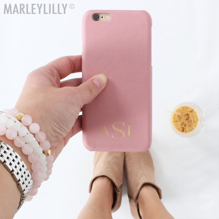 Our new FAVE accessory- Microleather Monogrammed Phone Case in blush! Customize yours at www.marleylilly.com!