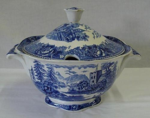 Arabia of Findland Blue Landscape Tureen w Lid | eBay