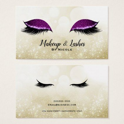 Purple Sparkle Makeup Glamour Eyelashes Lashes Business Card - modern gifts cyo gift ideas personalize