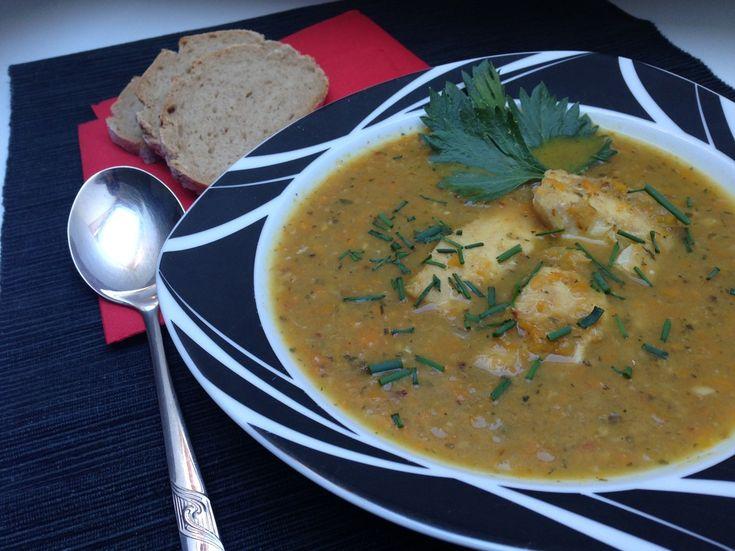 Zeleninová polévka s rybím filé