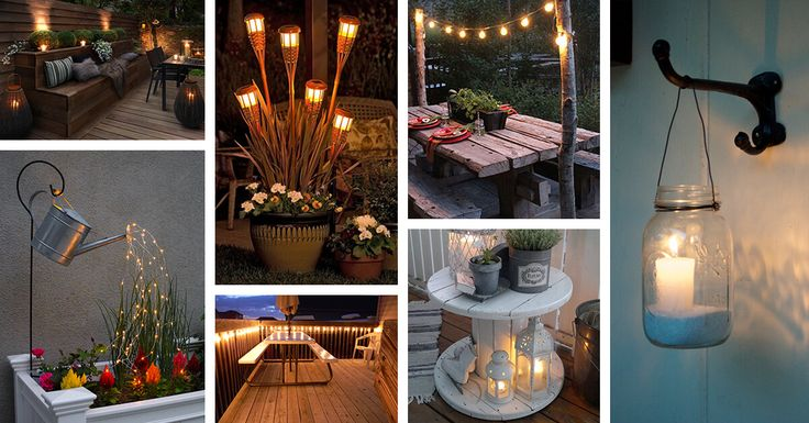 Outdoor lighting ideas are endless. Choose from lanterns, strings of fairy lights, sconces, chandeliers, and classic candles! Find the best designs!