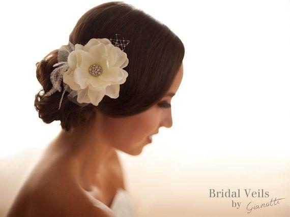 Wedding Hair Fascinator Flower, Bridal Flower Hair clips, Wedding Hair Accessory, Swarovski Crystals, Rhinestone, French Net, Feathers