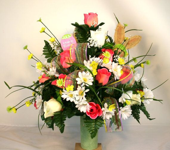 Spring Cemetery Vase Flower Arrangement Featuring by Crazyboutdeco