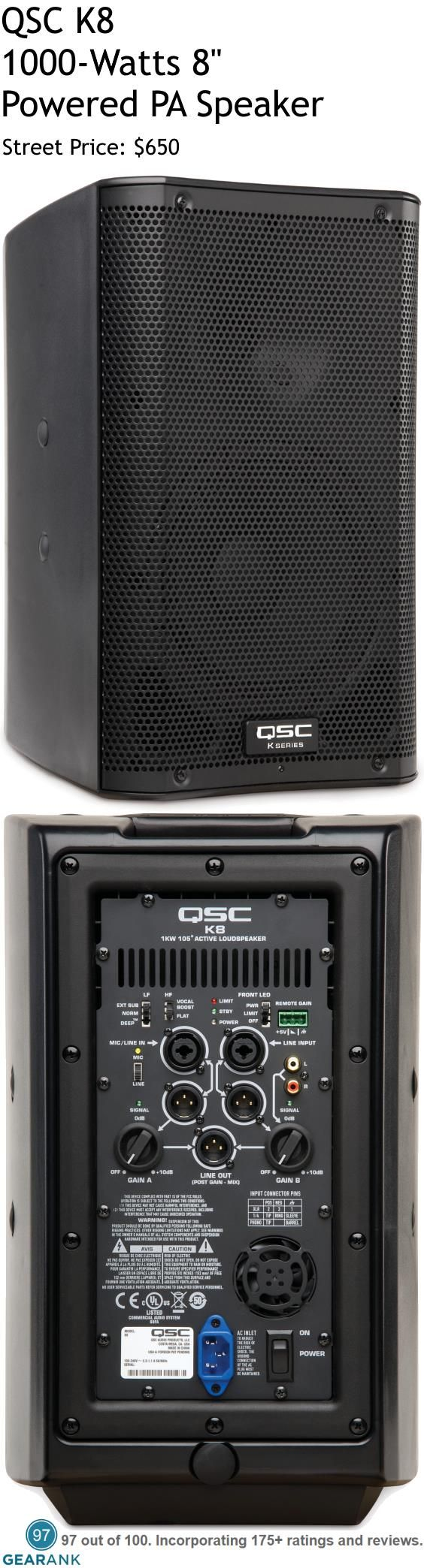 "QSC K8 8"" Powered PA Speaker - 1000W. For something small, the QSC K8 packs quite the punch, with 127 dB Max SPL, just two decibels short of the bigger 10"" model. This means that the K8 is capable of handling singer-songwriters, electronic musicians and it is even used by 5-piece bands as main PA speakers,  For a Detailed Guide to Powered PA Speakers see https://www.gearank.com/guides/powered-pa-speakers"