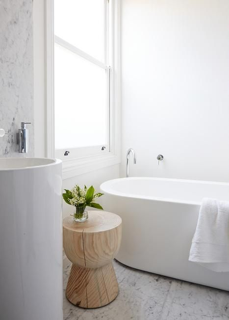 Marble, white bathroom, freestanding bath and tap, modern, calm | Jane Cameron Architects - desire to inspire - desiretoinspire.net