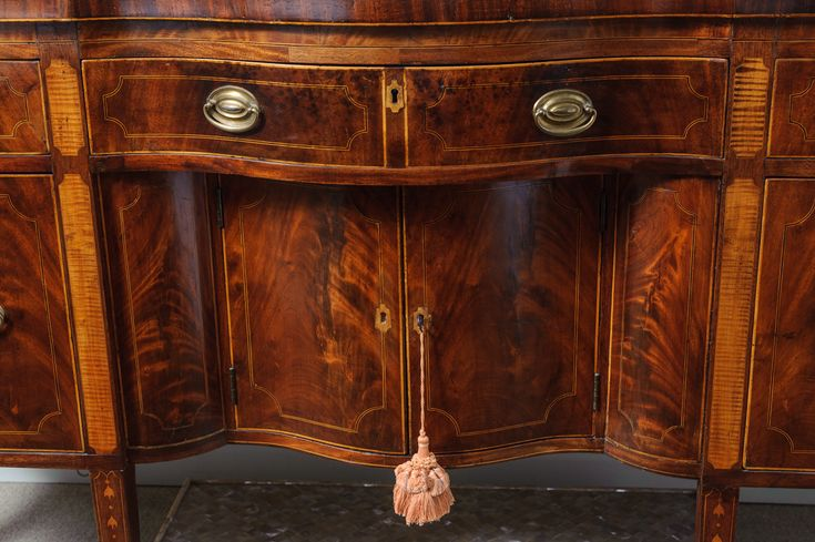 C.1800, English mahogany sideboard. Wine cellars on both ends. Lined silverware drawer