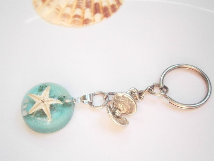 Starfish Keychain - Seashell Keyring - Ocean Gifts - Nautical Keychains - Beach Accessories - Beach Girl - Sea Purse Charm - Blue and Silver by GlamorousSparkle on Etsy