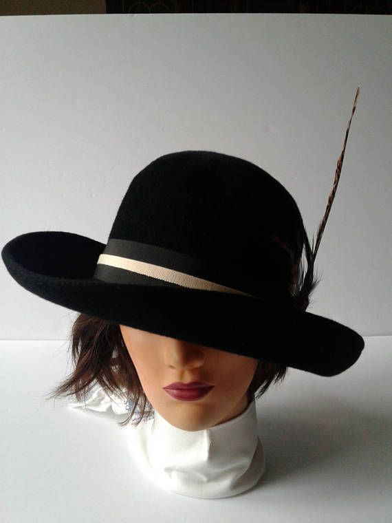 Vintage Black Women's Hat from 1950s-1960s Formal Hat