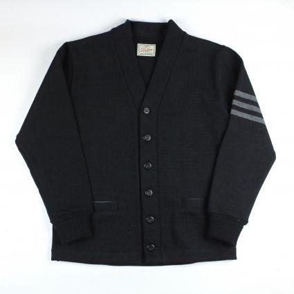 Dehen 1920 Varsity Cardigan (Black/Charcoal Heather)