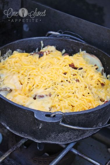 One Sweet Appetite: Camping Food: Cheesy Dutch Oven Potatoes