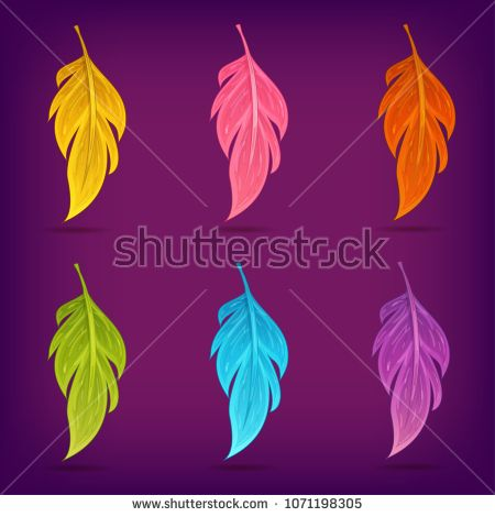 Vector set magic feather isolated on purple background in cartoon style. Perfect for game app design. Element for magic and witchcraft