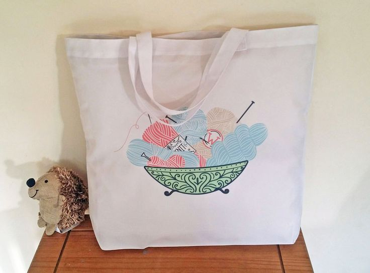 Knitting tote bag, Canvas shopping bag, Reusable grocery bag by cjcprint on Etsy