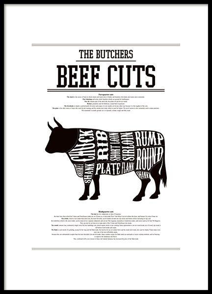 Poster mit Beef cuts, Butcher chart. Schwarz-weißes Poster / Plakat mit den verschiedenen Fleischpartien bei der Kuh. Im Poster sind die Namen der verschiedenen Teile angegeben. Elegantes und modernes Poster, das gut in die Küche passt, kombiniert mit unseren anderen Küchenpostern. www.desenio.de