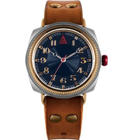'No 1929' blue British cushion luxury watch for men by W. T. Author available at www.wtauthor.com