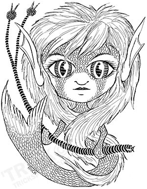 Large Eyed Mermaid. Pen and Ink line art by 'Trick! TricksPlace.com