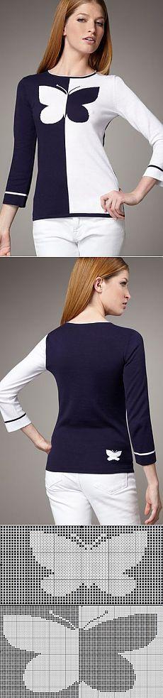 Butterfly intarsia sweater pattern