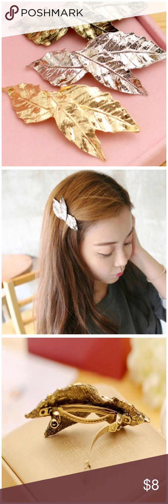 """Gold or Silver Leaf Hair Barrette Clip Pin Gold or Silver Leaf Hair Barrette Clip Pin --- this listing is for one hair barrette (3"""" long) Accessories Hair Accessories"""